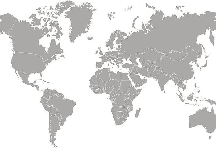 South America Greeting Card featuring the digital art World Map Outline In Gray Color by Chokkicx