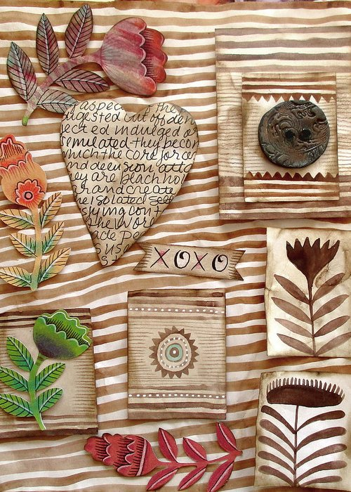Heart Greeting Card featuring the mixed media Xoxo by Elaine Jackson