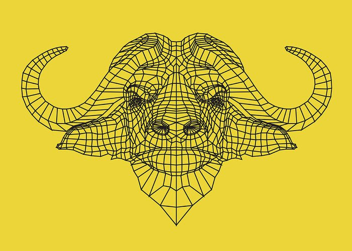 Buffalo Greeting Card featuring the digital art Yellow Buffalo by Naxart Studio