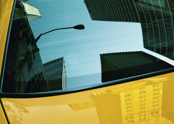 New York Taxi Greeting Card featuring the photograph Yellow Cab, Big Apple by Dave Bowman
