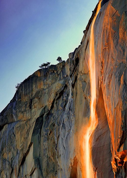 Tranquility Greeting Card featuring the photograph Yosemite Firefall by Provided By Jp2pix.com