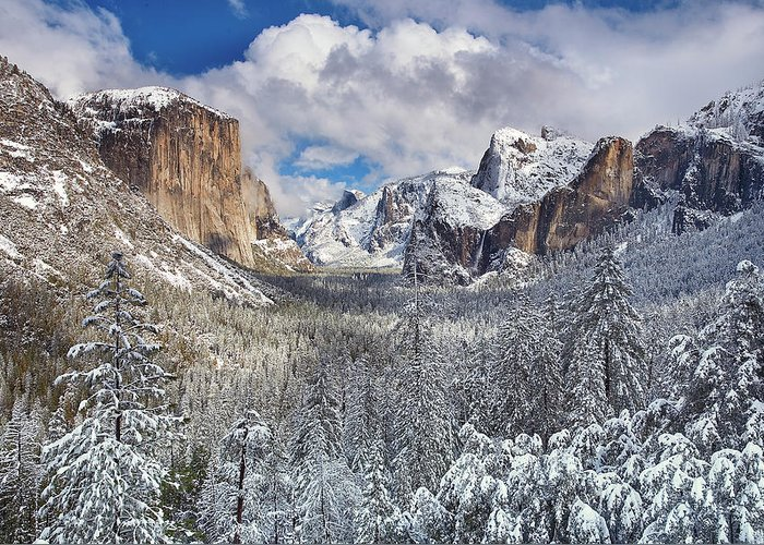 Scenics Greeting Card featuring the photograph Yosemite Valley In Snow by Www.brianruebphotography.com
