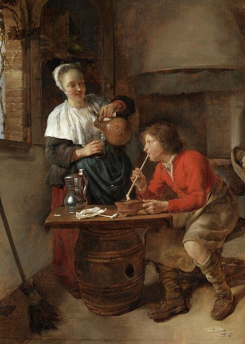 Gabriel Metsu Greeting Card featuring the painting Young Man Smoking And A Woman Pouring Beer by Gabriel Metsu