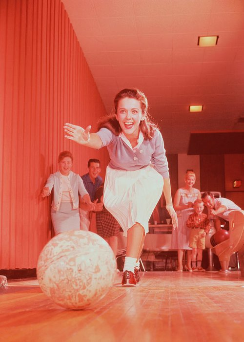 People Greeting Card featuring the photograph Young Woman Bowling, Family Watching In by Fpg