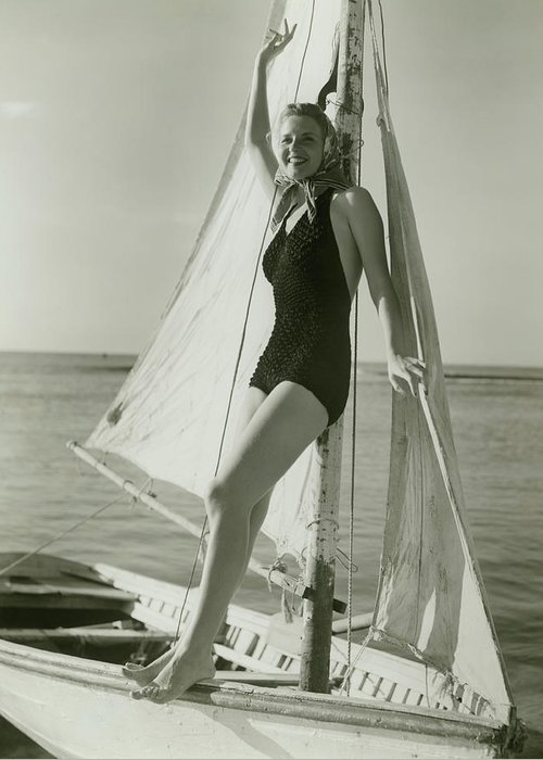 Human Arm Greeting Card featuring the photograph Young Woman Posing On Sailboat by George Marks