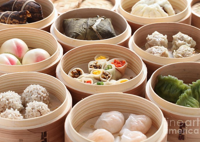 Chinese Cuisine Greeting Card featuring the photograph Yumcha, Dim Sum In Bamboo Steamer by Bonchan