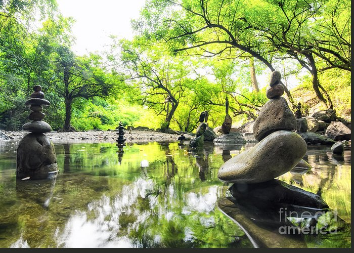 Harmony Greeting Card featuring the photograph Zen Pond In Forest. Photography Of by Banana Republic Images