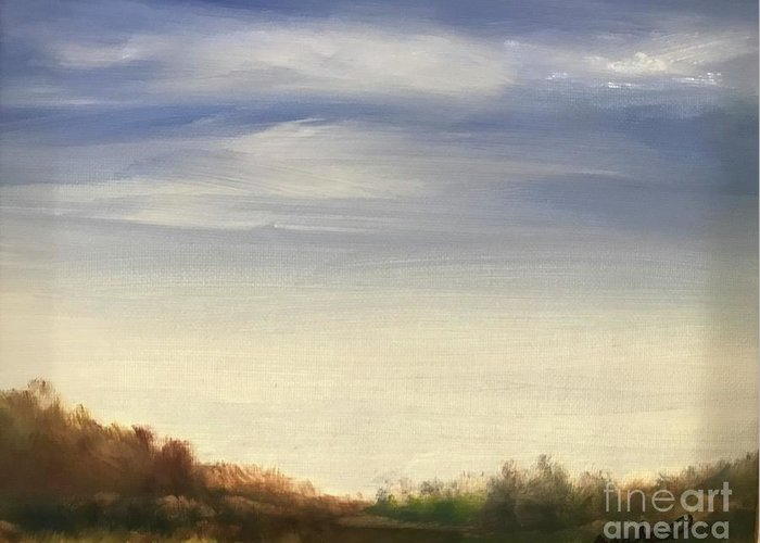 Blue Sky Landscape Greeting Card featuring the painting Blue Sky by Sheila Mashaw