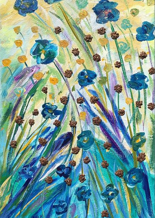 Agricultural Greeting Card featuring the mixed media Flax Maturing by Naomi Gerrard