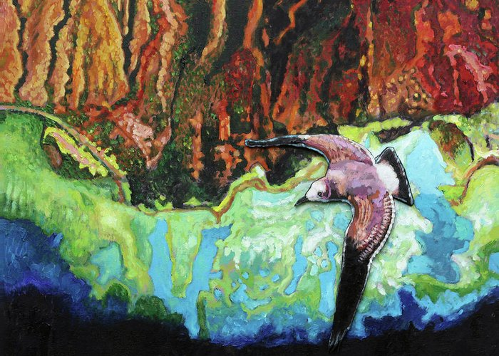 Sea Gull Greeting Card featuring the painting Flying High by John Lautermilch