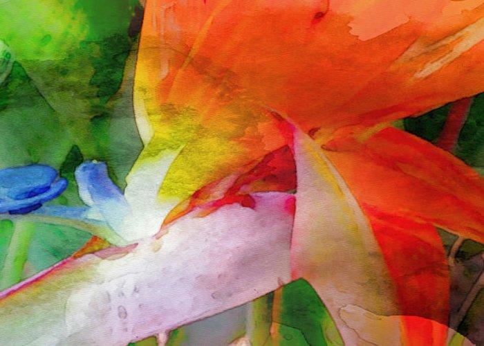 Bird Of Paradise Greeting Card featuring the digital art Hawaiian Bird Of Paradise by James Temple