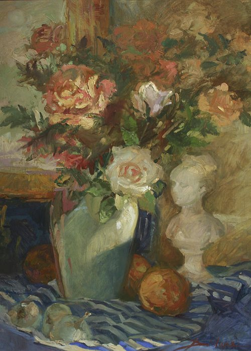 Still Life Painting. Floral Painting Greeting Card featuring the painting In the Shadows by Betty Jean Billups