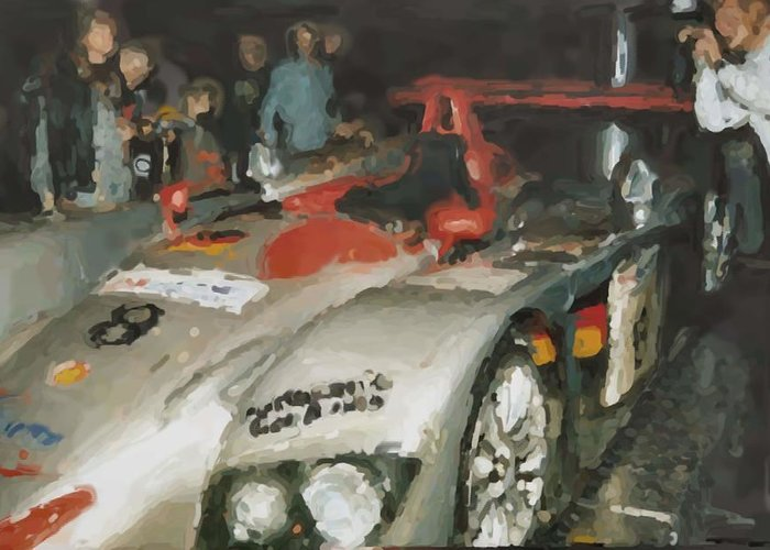 Le Mans Greeting Card featuring the mixed media Le Mans by Asbjorn Lonvig