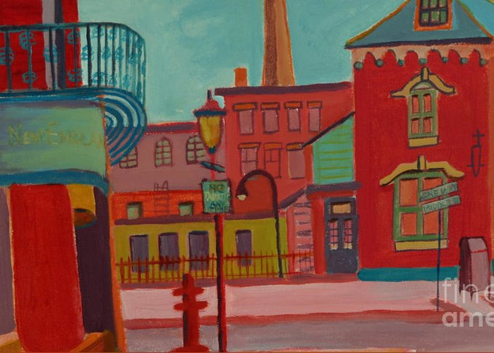 Cityscape Greeting Card featuring the painting Middle Street in Lowell MA by Debra Bretton Robinson