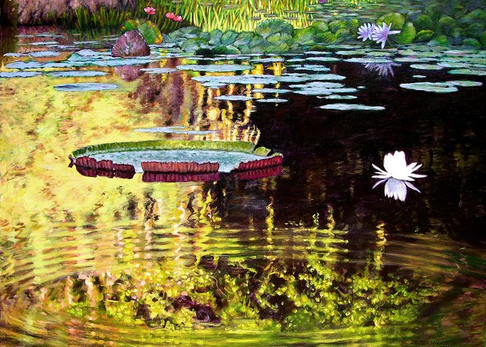 Garden Pond Greeting Card featuring the painting Ripples On A Quiet Pond by John Lautermilch