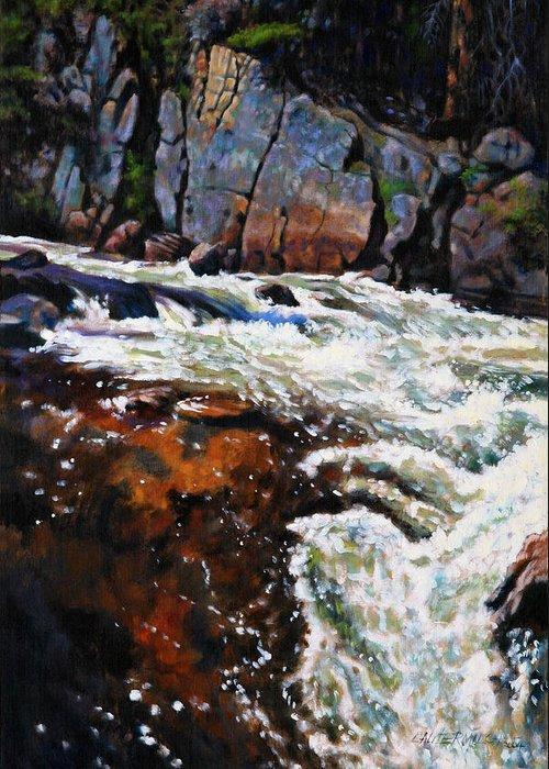 Mountain Stream Greeting Card featuring the painting Rushing Waters Colorado by John Lautermilch