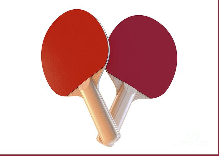 Table Tennis Greeting Card featuring the digital art Set Of Table Tennis Paddles by Allan Swart