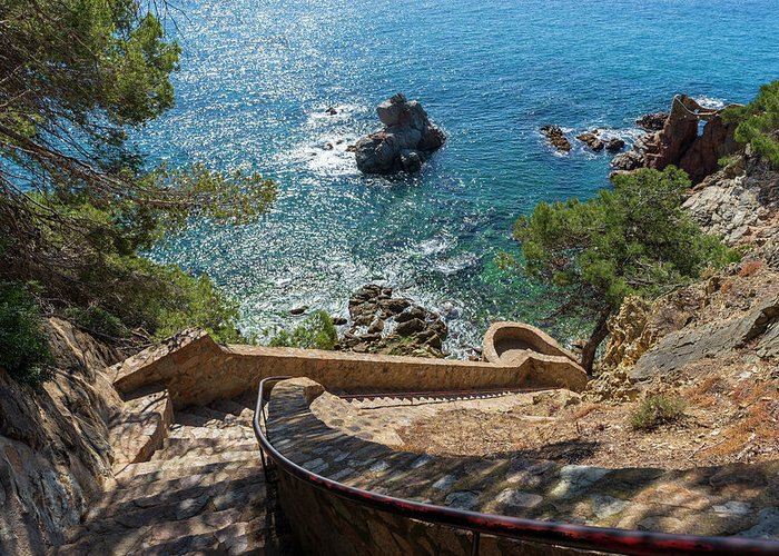 Camins Greeting Card featuring the photograph The Cami De Ronda By Lloret De Mar, Girona by Vicen Photography