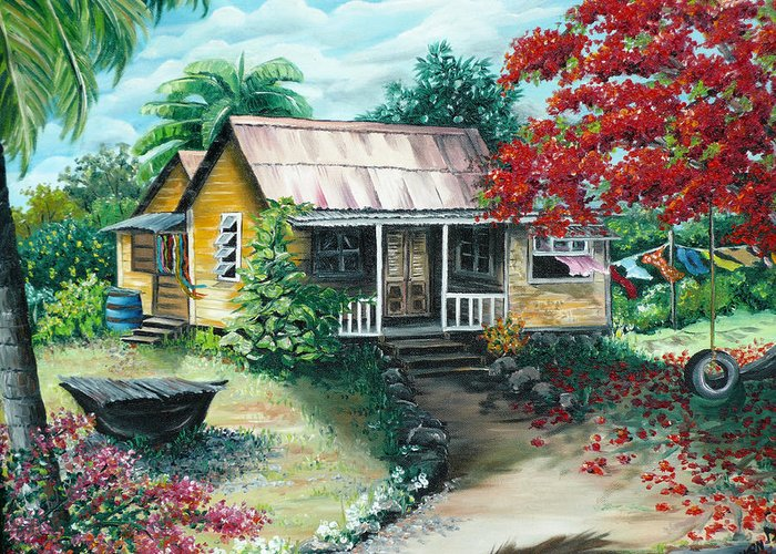 Landscape Painting Caribbean Painting Tropical Painting Island House Painting Poinciana Flamboyant Tree Painting Trinidad And Tobago Painting Greeting Card featuring the painting Trinidad Life by Karin Dawn Kelshall- Best