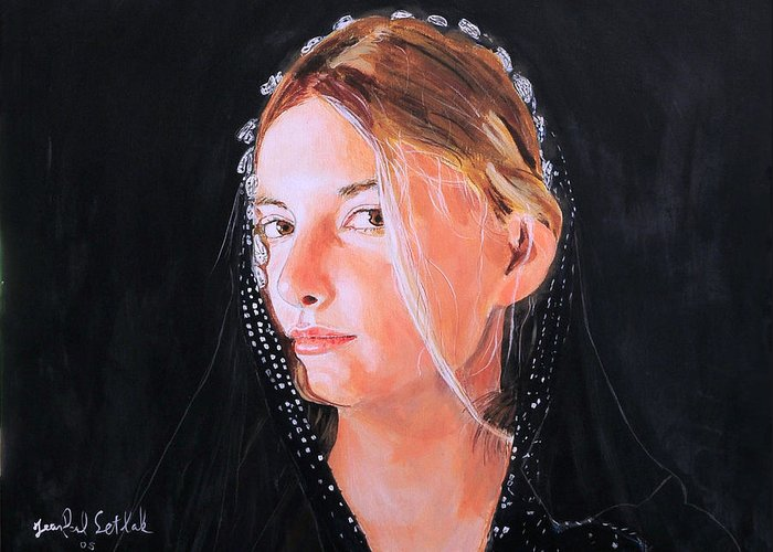 Portrait Of A Young Woman Greeting Card featuring the painting White Clouds by Jean-Paul Setlak