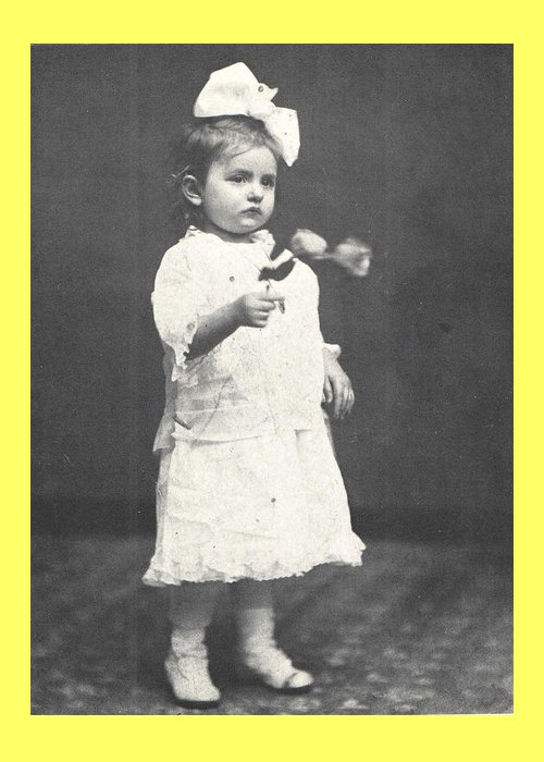 Rose Greeting Card featuring the photograph 1860 Girl with Flowers, Antique Photograph by Thomas Dans