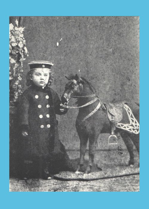 Boy Greeting Card featuring the photograph 1876 Boy with Toy Horse, Antique Photograph by Thomas Dans