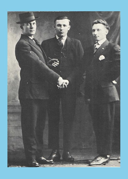Handshake Greeting Card featuring the photograph 1898 Three Men and a Handshake, Antique Photograph by Thomas Dans