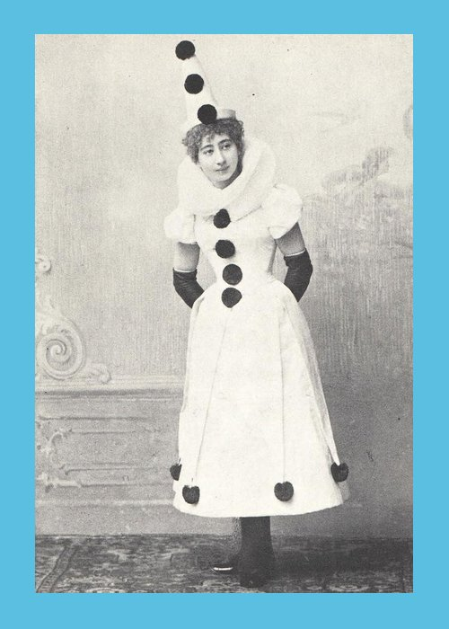Nostalgia Greeting Card featuring the photograph 1898 Woman in Clown Costume, Antique Photograph by Thomas Dans