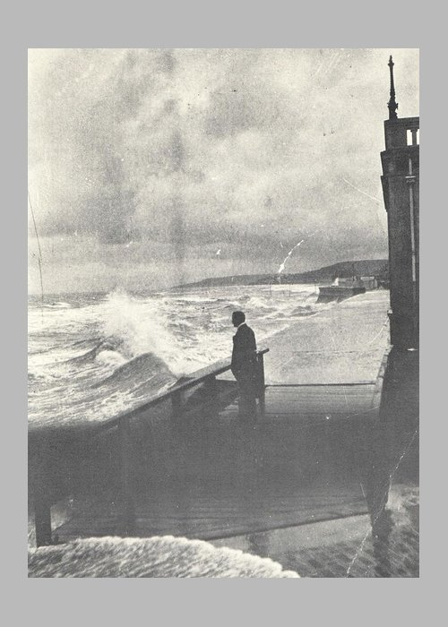 Seaside Greeting Card featuring the photograph 1914 Man by Ocean Surf, Antique Photograph by Thomas Dans