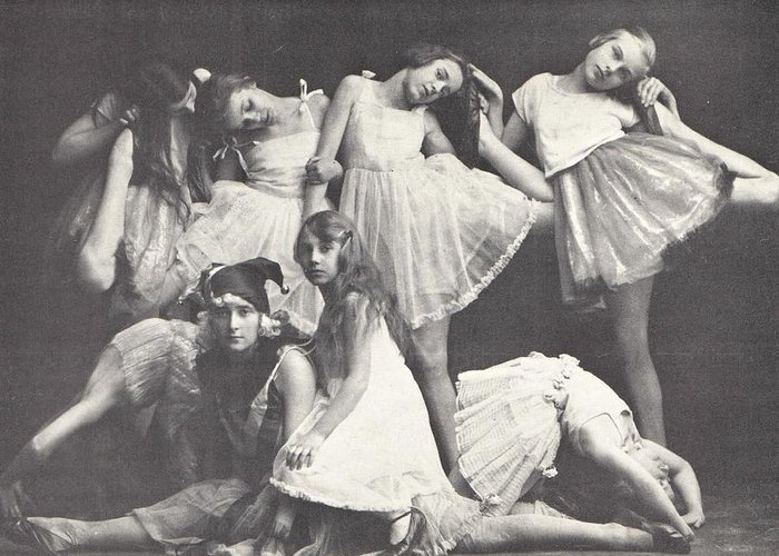 Ballerina Greeting Card featuring the photograph 1925 Dance Class, Berlin, Antique Photograph by Thomas Dans
