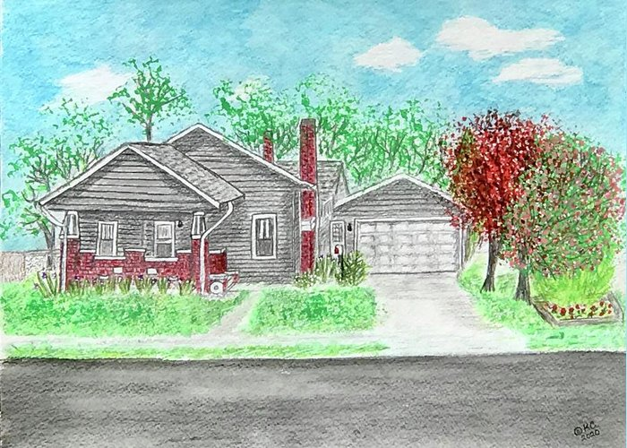 Craftsman Bungalow Greeting Card featuring the painting 1926 Craftsman Bungalow by Kathy Marrs Chandler