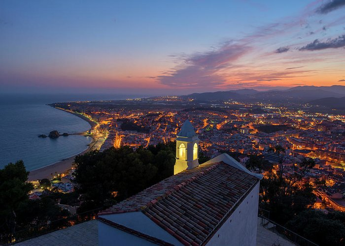 Blanes Greeting Card featuring the photograph Hermitage And Views Of Blanes At Sunset by Vicen Photography
