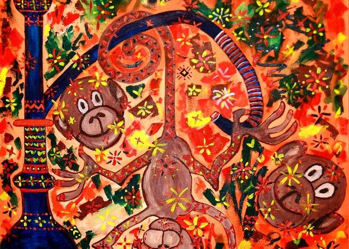 Contemporary Folk Greeting Card featuring the painting Jinga Monkeys by Fareeha Khawaja