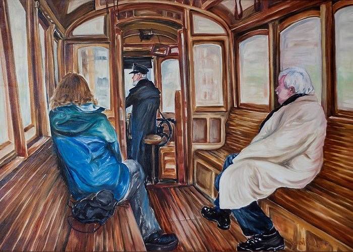 Tram Greeting Card featuring the painting The Tram by Jennifer Lycke