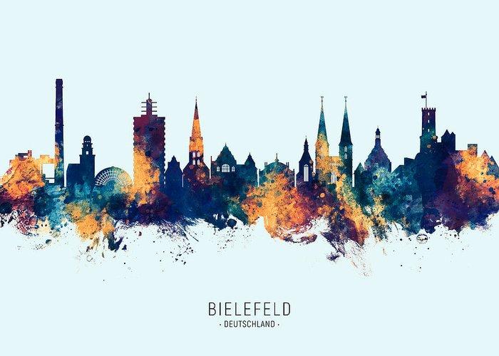Bielefeld Greeting Card featuring the digital art Bielefeld Germany Skyline by Michael Tompsett