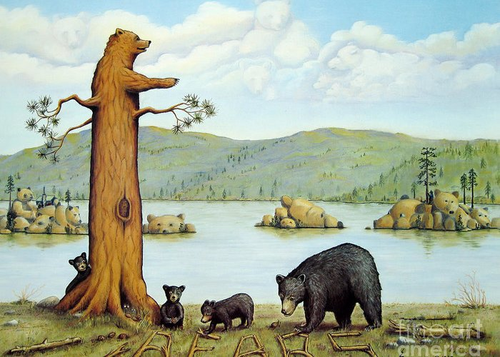 Bears Greeting Card featuring the painting 27 Bears by Jerome Stumphauzer