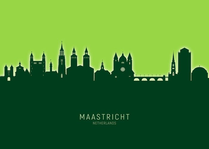 Maastricht Greeting Card featuring the digital art Maastricht The Netherlands Skyline by Michael Tompsett