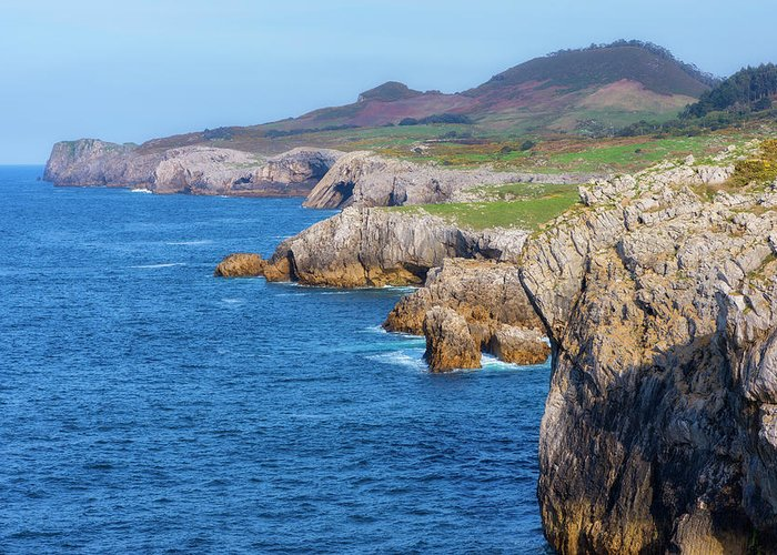Color Greeting Card featuring the photograph The Cantabrian Coast By Llanes, Asturias by Vicen Photography