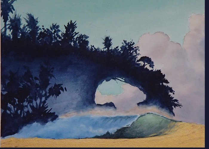 Ocean Greeting Card featuring the painting Untitled 4 by Philip Fleischer