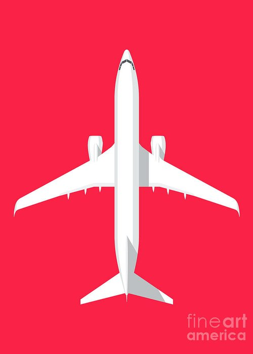 Airplane Greeting Card featuring the digital art 737 Passenger Jet Airliner Aircraft - Crimson by Organic Synthesis