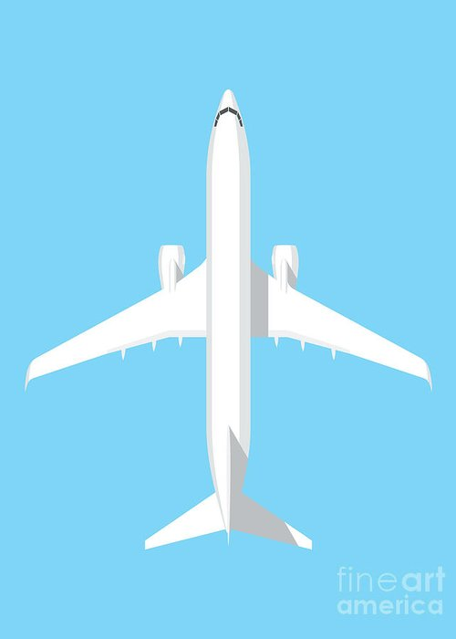 Airplane Greeting Card featuring the digital art 737 Passenger Jet Airliner Aircraft - Sky by Organic Synthesis