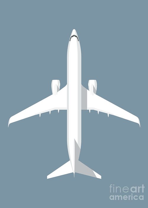 Airplane Greeting Card featuring the photograph 737 Passenger Jet Airliner Aircraft - Slate by Organic Synthesis