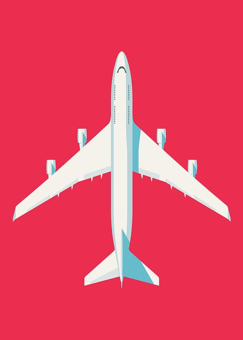 Airplane Greeting Card featuring the digital art 747 Jumbo Jet Airliner Aircraft - Crimson by Organic Synthesis