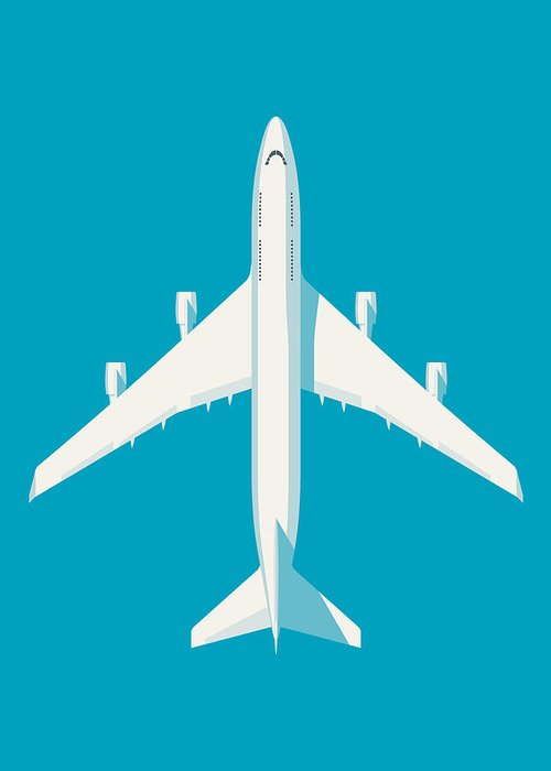 Airplane Greeting Card featuring the digital art 747 Jumbo Jet Airliner Aircraft - Cyan by Organic Synthesis