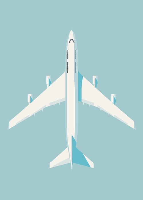 Airplane Greeting Card featuring the digital art 747 Jumbo Jet Airliner Aircraft - Sky by Organic Synthesis