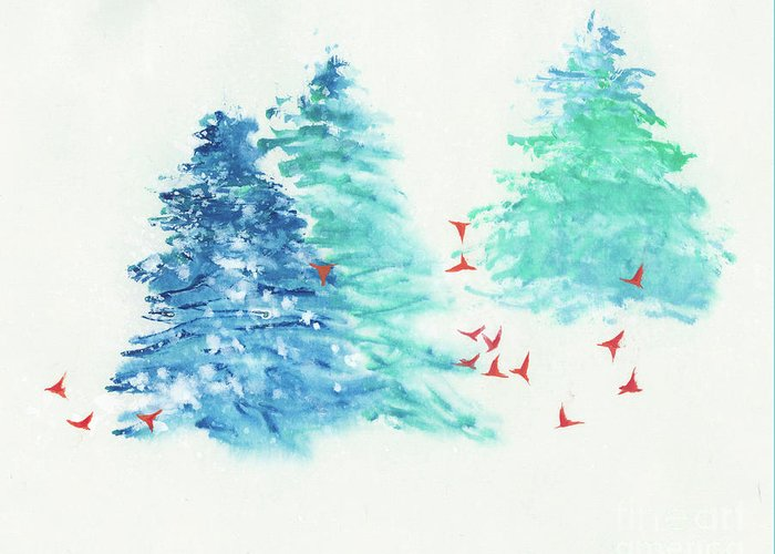 A Flock Of Happy Red Birds Gathers Around A Snowy Wood. It's A Simple Contemporary Chinese Brush Painting On Rice Paper. Greeting Card featuring the painting A Happy Flock by Mui-Joo Wee