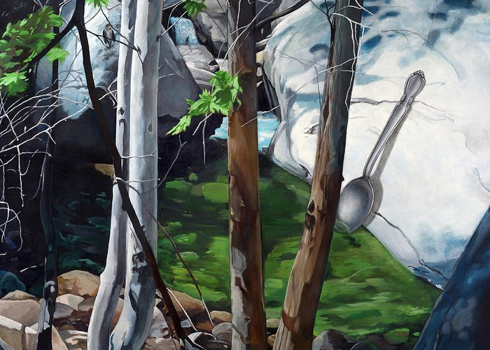 Landscape Greeting Card featuring the painting A Taste of Nature by Snake Jagger