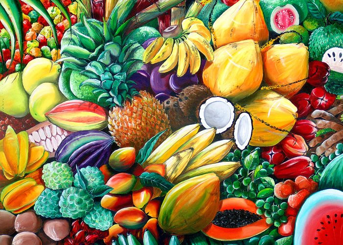 Caribbean Fruit Painting Tropical Fruit Painting Caribbean Pineapple Mangoes Bananas Coconut Watermelon Tropical Fruit Painting Greeting Card featuring the painting A Taste Of The Islands by Karin Dawn Kelshall- Best