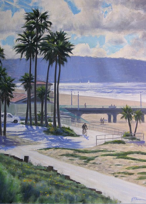 Greeting Card featuring the painting A View From The Strand by Joe Mancuso
