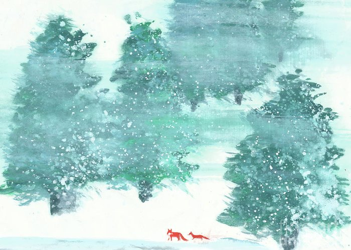 A Mother And Baby Fox Are Taking A Walk In The Wood. This Is A Simple Contemporary Chinese Brush Painting On Rice Paper. Greeting Card featuring the painting A Walk in the Wood by Mui-Joo Wee